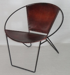 IRON LEATHER BUCKET CHAIR