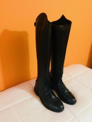 Black Leather Riding Boots Available In Custom Design And Sizes