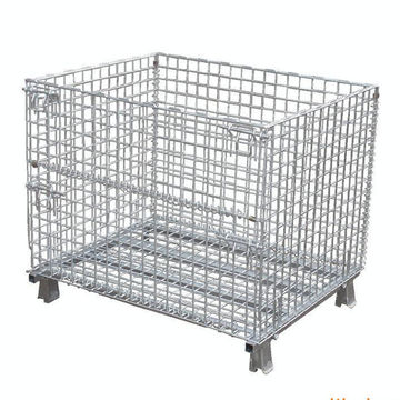 Heavy Duty Scale Pallet Metal Wire Basket Storage  Cage Warehouse Roll Container Racks