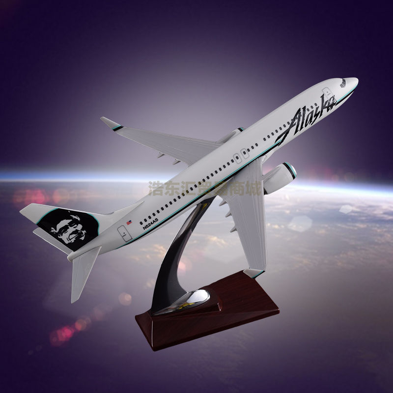 Resin Crafts Boeing 737 Alaska Airlines Simulation Airplane Model OEM Resin Factory Direct Sales