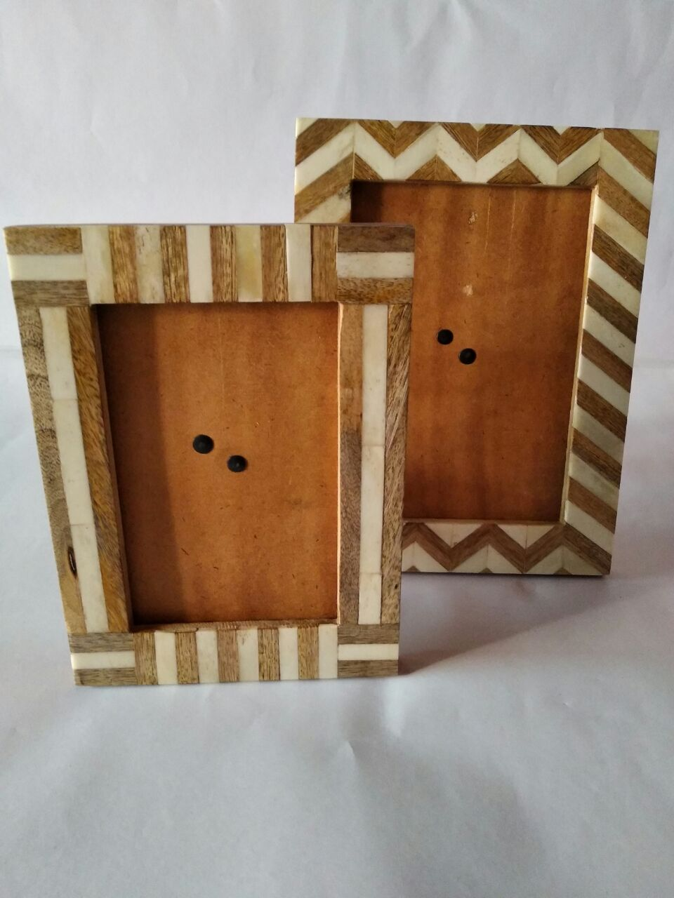 Photo Frame Of Wood, Metal,bone, Horn