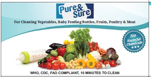 PURE & SURE - Water Purifier - Mineral Water Making Powder - Veggie Fruit & Baby Feeding Bottle Wash